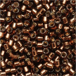 DB0150 Miyuki Delica Seed Beads, 11/0 Size, Silver Lined Brown