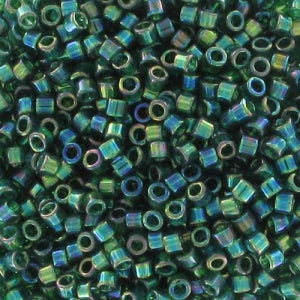 DB0175 Miyuki Delica Seed Beads, 11/0 Size, Green Transparent Rainbow