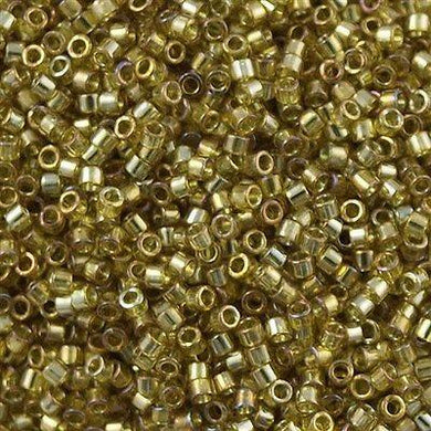 DB0124, Miyuki Delica Seed Bead 11/0 Transparent Olive Gold Luster
