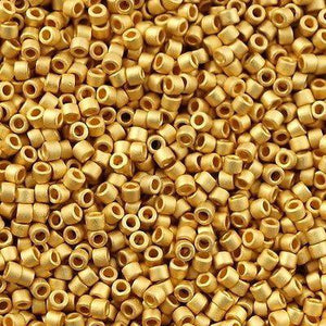 DB0331, Miyuki Delica Seed Bead 11/0 Matte 24kt Gold Plated