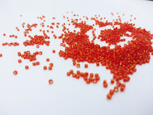 DB0043 Miyuki Delica Seed Beads, 11/0 Size, Silver Lined Red Orange