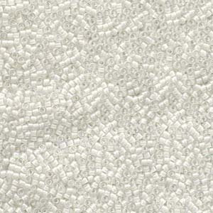 DB0066 Miyuki Delica 11/0 Glass Seed Beads, White - Lined AB