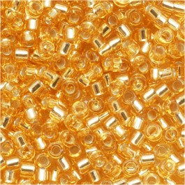 DB0042 Miyuki Delica Seed Beads, 11/0 Size, Silver Lined Gold