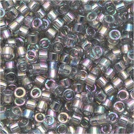 DB0107 Miyuki Delica Seed Beads, 11/0 Size, Transparent Luster Rainbow Gray Blue