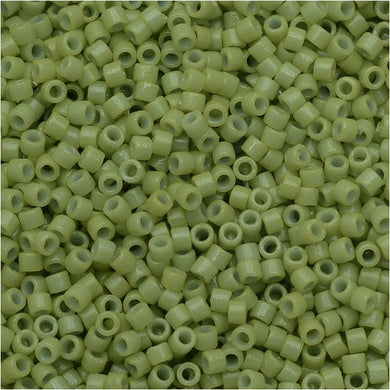 DB2123 Miyuki Delica Seed Beads, 11/0 Size, Duracoat Opaque Fennel Green