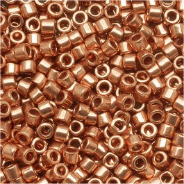DB0040 Miyuki Delica Seed Beads, 11/0 Size, Bright Copper Plated Metallic