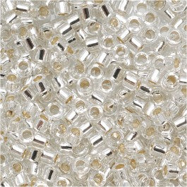DB0041 Miyuki Delica Seed Beads, 11/0 Size, Silver Lined Crystal