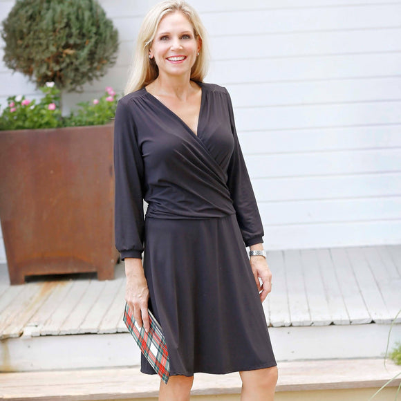 Faux Wrap Dress - Black