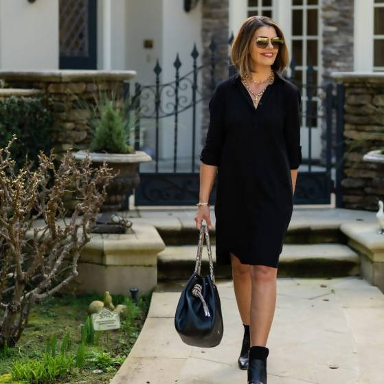 Classic Shirt Dress - Black