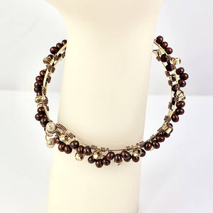 Seed bead memory wire bracelet, brown and gold