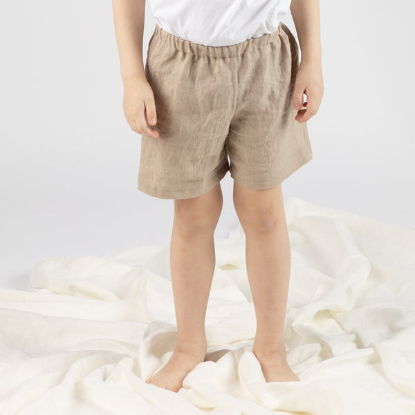 savana collection, comfortable ethical and ecological linen oeko-tex 100 certified loose fit elastic waist shorts for kids