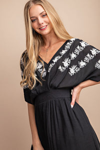 Lila Embroidered Dress in Black