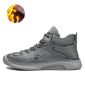 Men Winter Warm Plush Genuine Leather Boots