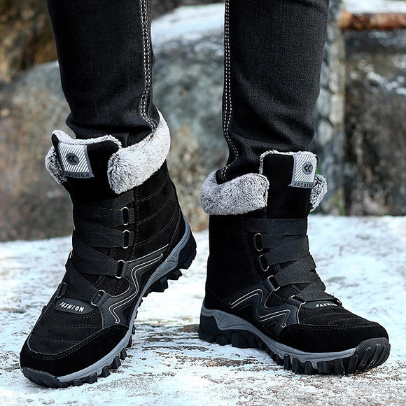 Men High Top Winter Fur Warm Snow Boots
