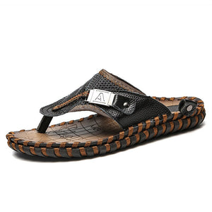 Lucklucy Men Leisure Leather Summer Beach Slipper