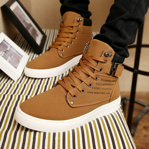 Men 2020 Autumn Winter Warm Matte Leather High Top Shoes