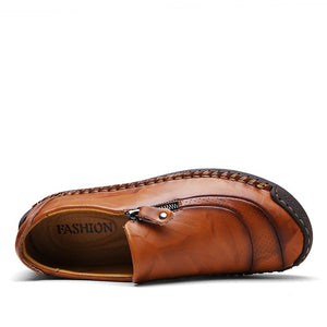 Mens Handmade Split Leather Casual Loafers