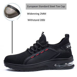 Men Breathable Steel Toe Work Shoes
