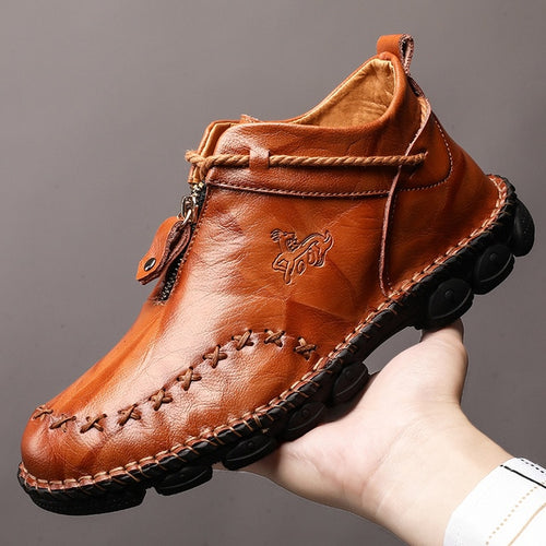 Lucklucy High Quality Genuine Leather Men Boots