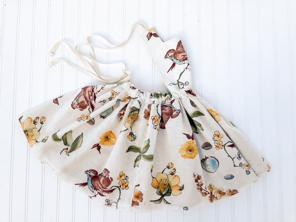 {Wren Pinafore} in natural boho print  // made to order