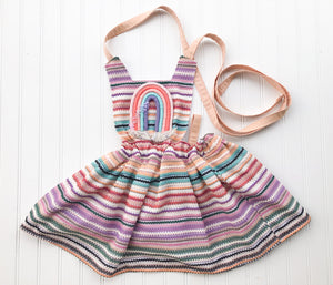 {Quinn Pinafore} in zigzag crochet with embelished rainbow // made to order