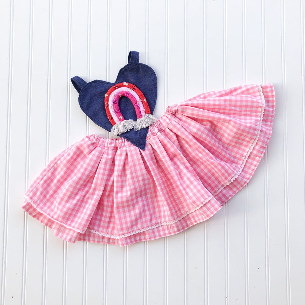 {Lennon Pinafore} in pink gingham with embellished rainbow // made to order