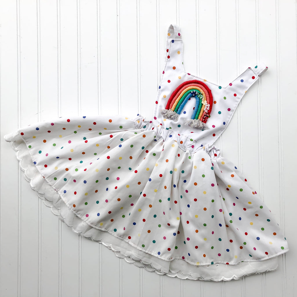 {Quinn Pinafore} in pop polkadot with embellished rainbow // made to order