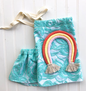 customizable rainbow lace halter [aqua rose lace]