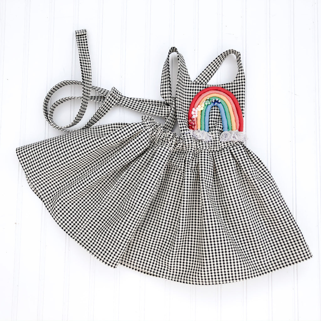 {Quinn Pinafore} in black/white gingham with embellished rainbow // made to order