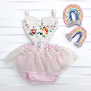 Vintage OOAK Heart Romper with embroidered // Read to Ship // Size 18/24M