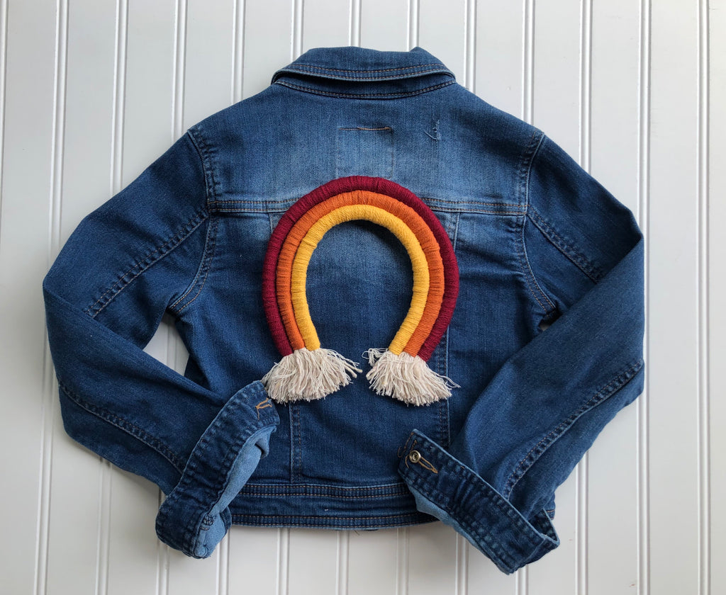 {size 6/7} rainbow denim jacket // design your own rainbow // ready to ship (1-4 days)
