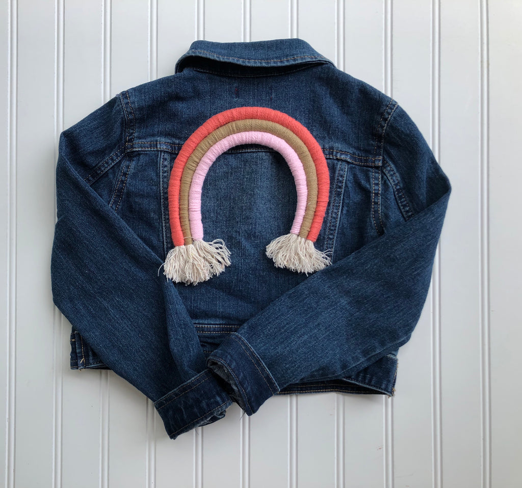 {size 8} rainbow denim jacket // design your own rainbow