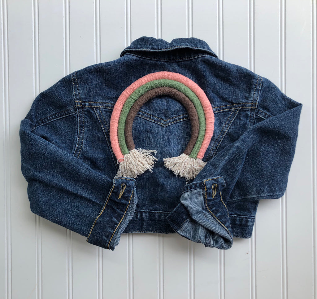 {size 6} rainbow denim jacket // design your own rainbow // ready to ship (1-4 days)