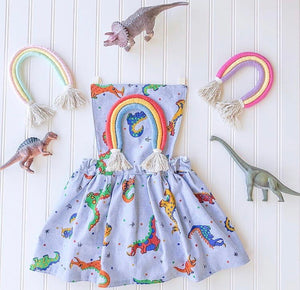 {pebbles} dinosaur rainbow pinafore // made to order