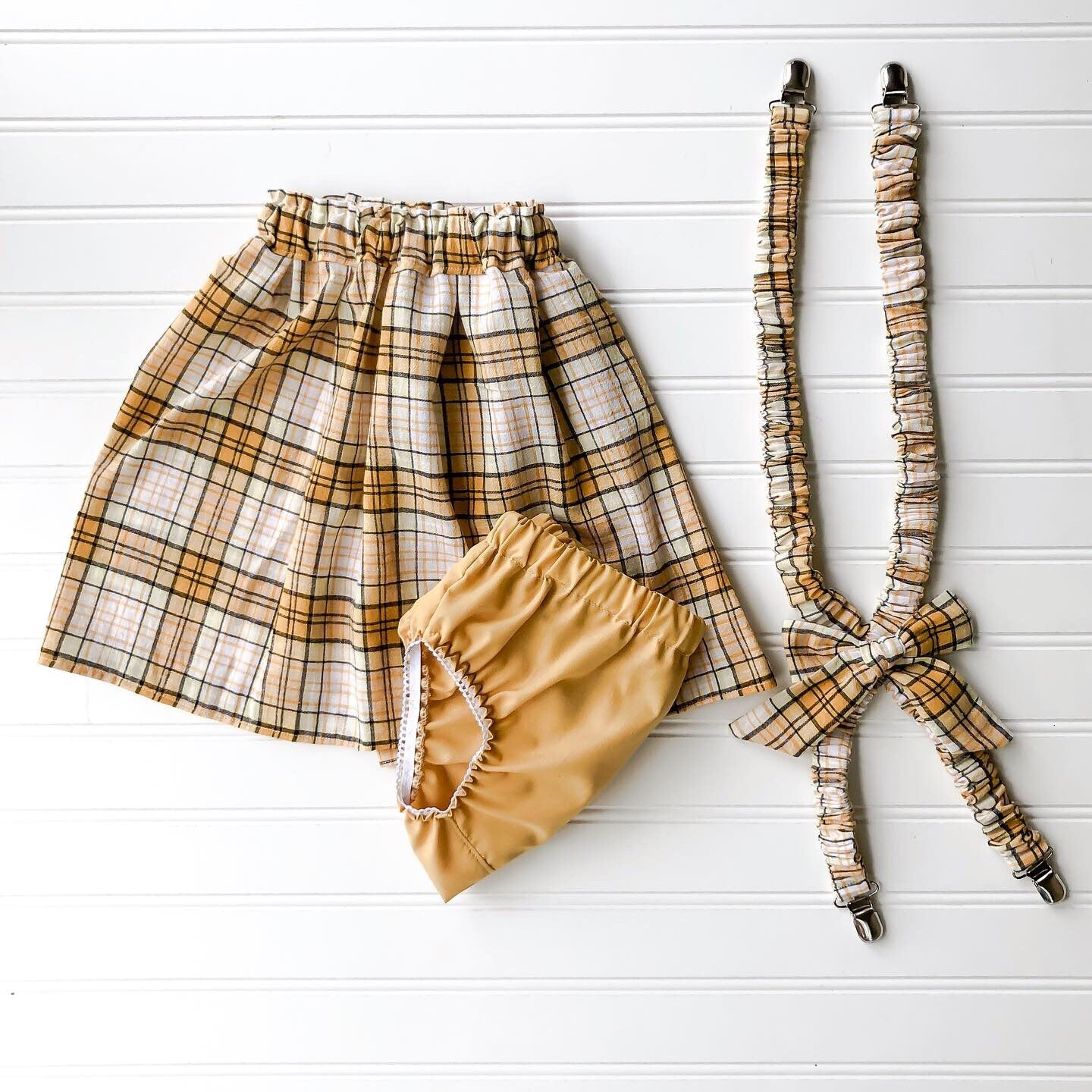 {JOJO} suspender skirt in mustard plaid // made to order