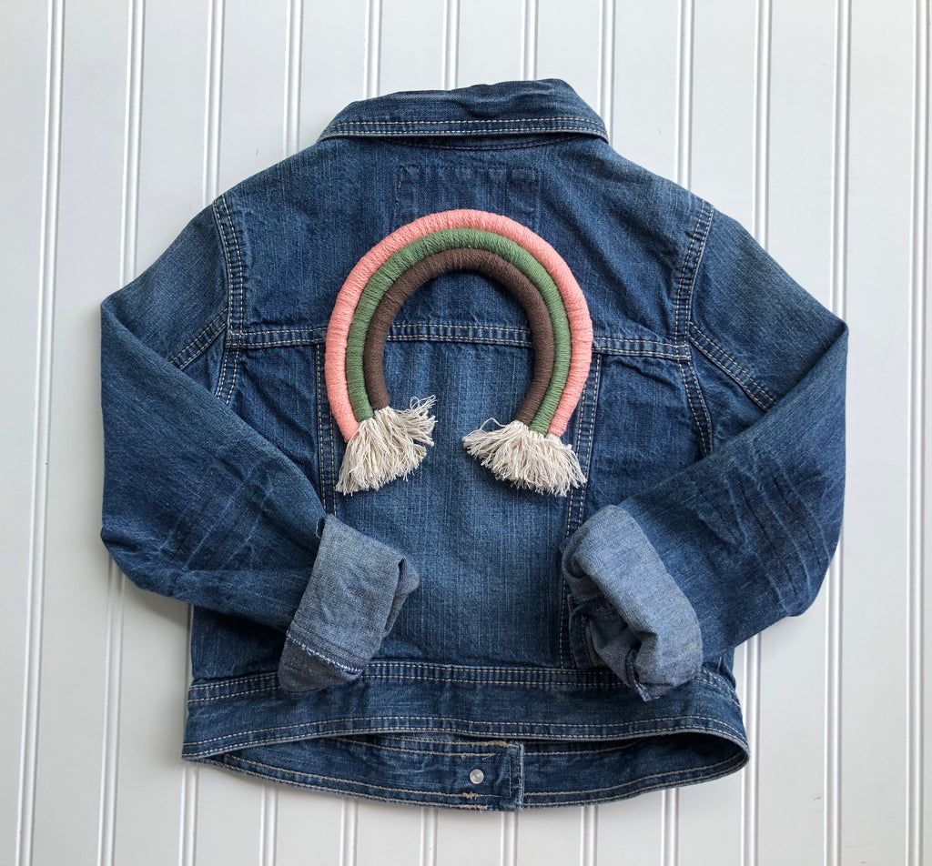 {size 7/8} rainbow denim jacket // design your own rainbow