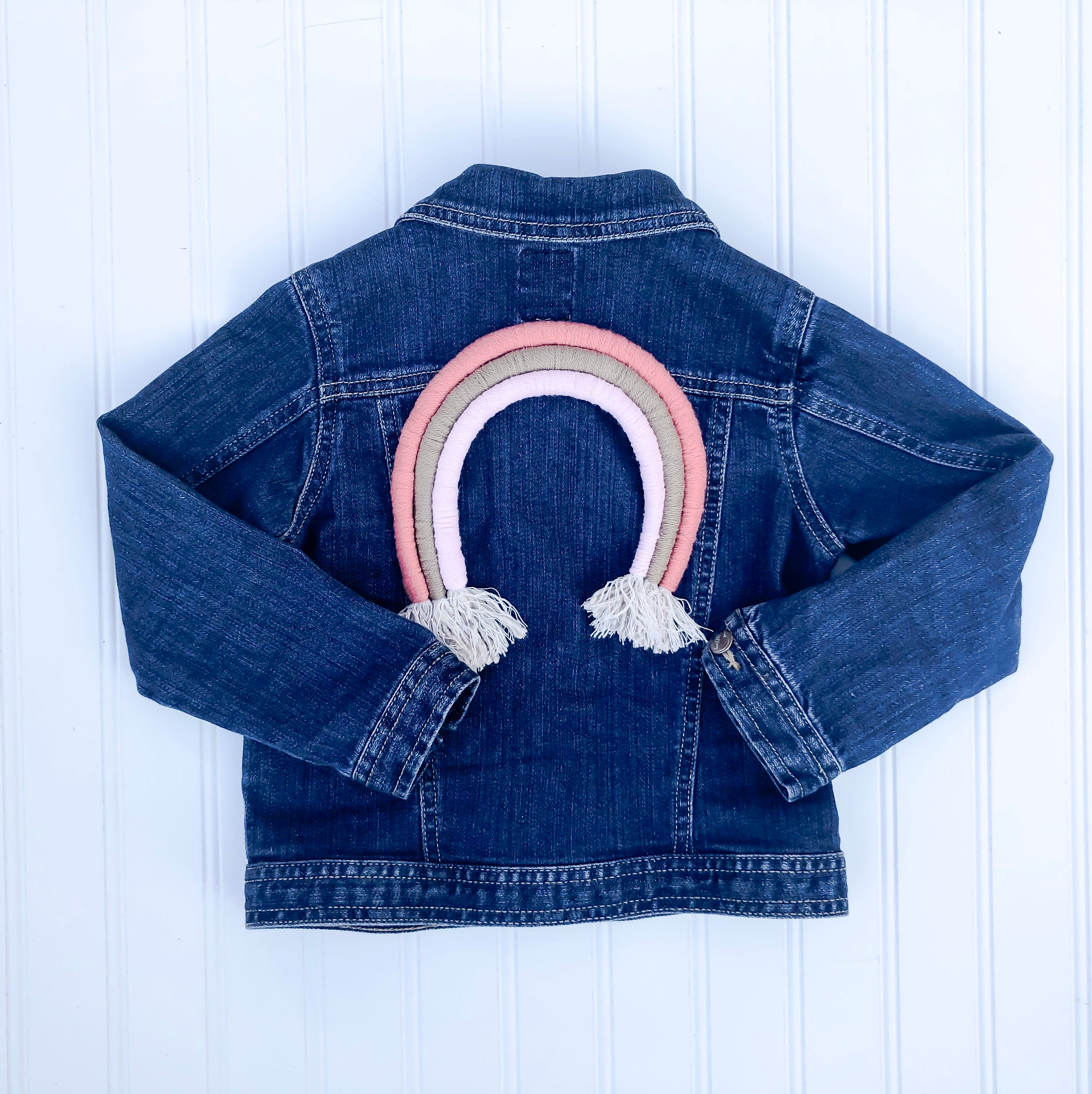 {size 4T} rainbow denim jacket // design your own rainbow // ready to ship (1-4 days)