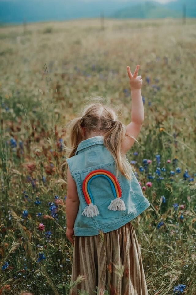 {size L 12/14} rainbow denim vest // design your own rainbow // ready to ship (1-4 days)