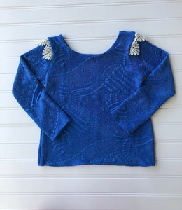{bence] lace tee in cobalt // made to order
