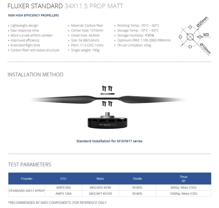 FLUXER 34×11.5 Inch Carbon Fiber Propellers - Unmanned RC