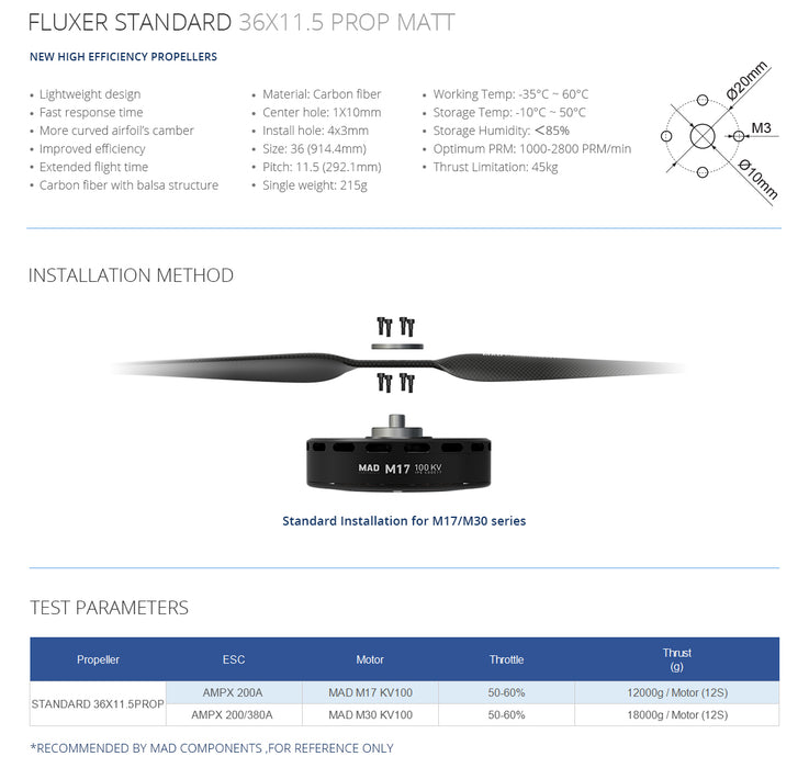 FLUXER 36×11.5 Inch Carbon Fiber Propellers - Unmanned RC