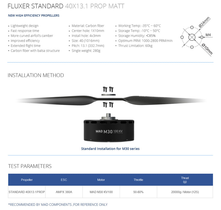 FLUXER 40×13.1 Inch Carbon Fiber Propellers - Unmanned RC
