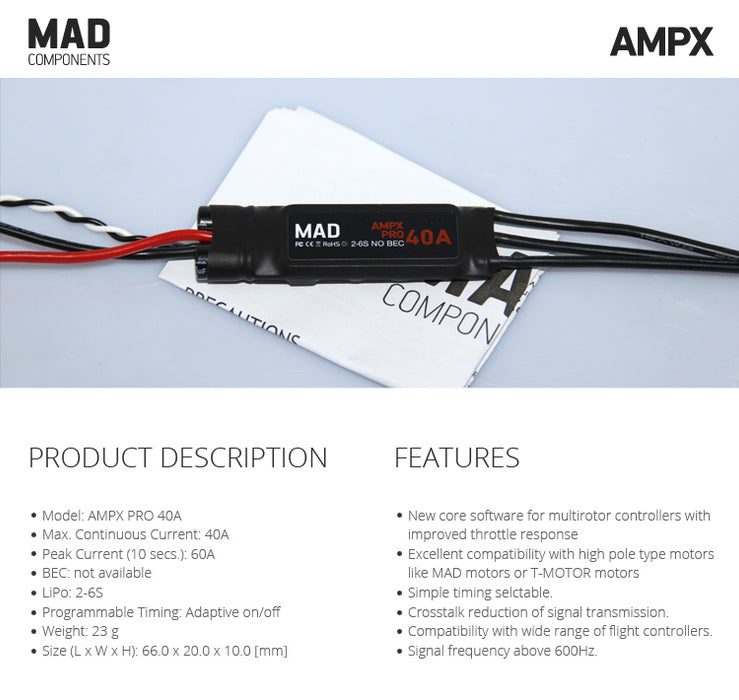 MAD AMPX ESC 40A Multicopters ESC (2-6S) - Unmanned RC