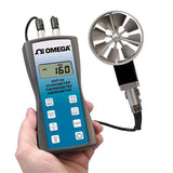 Omega HHF144 Series Handheld Anemometer with Rotating Vane, Temperature and Humidity Meter
