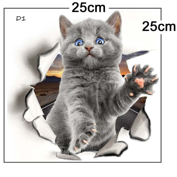 Hole View Cat Dog 3D Wall Sticker For Home Decor