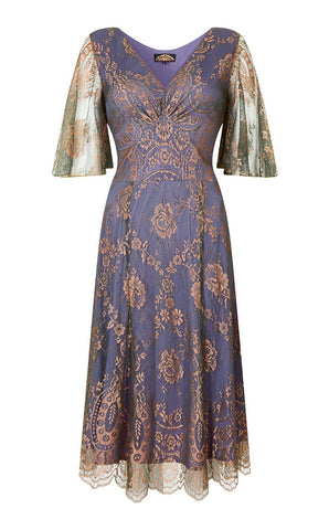 Cathleen dress in bronze and sugar violet lace