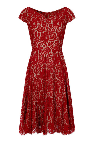 Janie dress in ruby lace - mannequin front