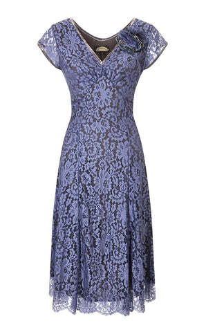 Kristen dress in amethyst flower lace
