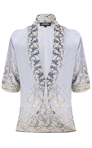 Nancy Mac Lilliana jacket in Periwinkle blue lace - perfect Summer coverup