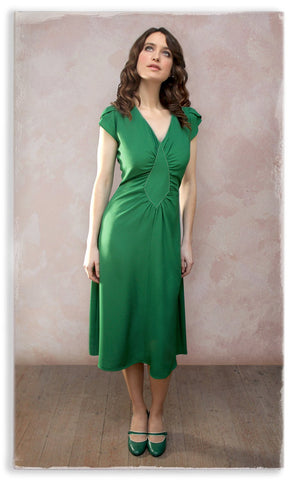 Nancy Mac Anya dress in green moss crepe - model shot